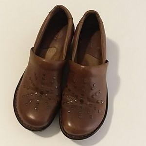 Boc Born Concept Brown Leather Stud Mule/Clog Sz 7